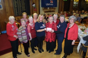"Ladies Section  President Mrs May Robertson and her Committee present a cheque for £340.00 to the Broughty Ferry Life Boat at a recent  "" Day at the Ritz"" afternoon tea."