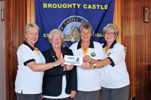 Lady Section President Mrs Moira Lorimer presents cheque to Broughty Castle B/C Ladies. L to r Anne Alexander (skip) Mrs Moira Lorimer, Dianne Crooks(2nd) Jennifer Stewart(lead). The runners up were Maryfield B/C Madge Milne, Anne Dewar, Stella Longmuir.